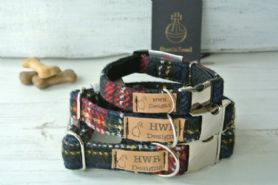 Black & Red Tartan Harris Tweed Dog Collar